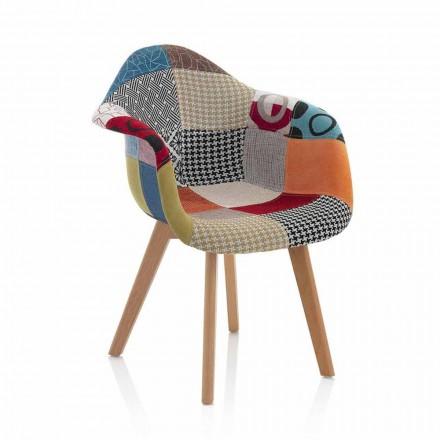 Patchwork design fauteuil in stof met houten poten, 2 stuks - Selena