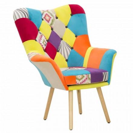 Patchwork modern design fauteuil in stof en hout - Karin