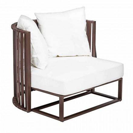 Buitenfauteuil in aluminium en luxe designtouwen 3 afwerkingen - Julie