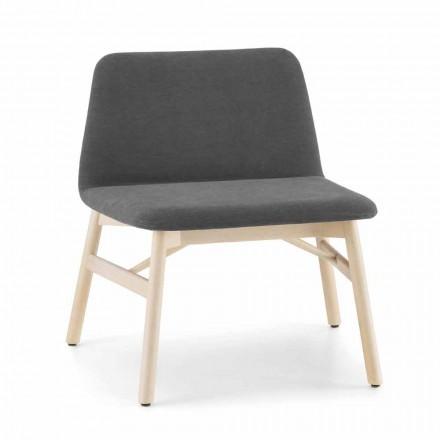 Kostbare fauteuil in stof of fluweel met onderstel van beukenhout Made in Italy - Molde