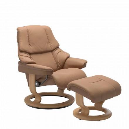 Lederen fauteuil met hoofdsteun en poef - Stressless Reno
