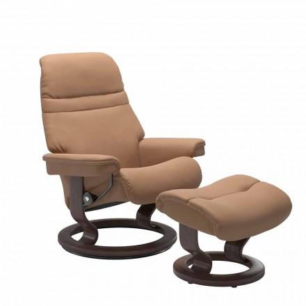 Lederen fauteuil met hoofdsteun en poef - Stressless Sunrise