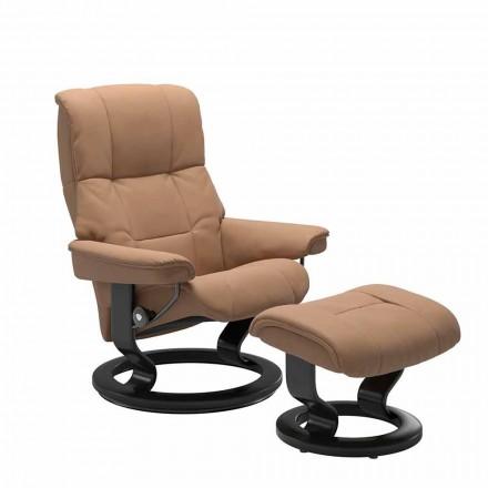Lederen ligstoel met poef van Stressless - Mayfair