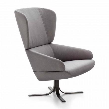 Loungestoel in stof met draaibaar metalen onderstel Made in Italy - Liana