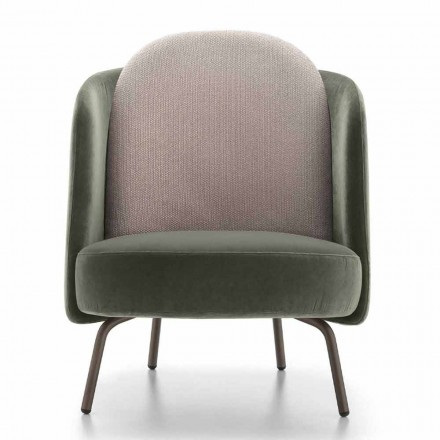 Woonkamer fauteuil bekleed met stof met metalen onderstel Made in Italy - Ribes