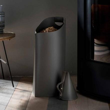 Porta pellet scoop van binnenuit Sapir ontwerp zwart leer