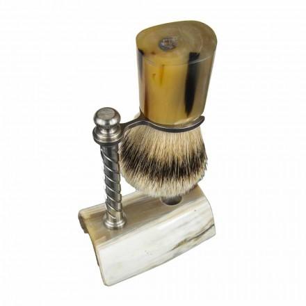 Baardkit met borstel en borstelhouder in ossenhoorn Made in Italy - Diplo