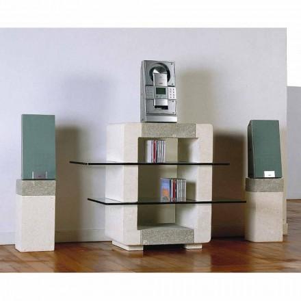 Hi-Fi TV-standaard in Vicenza Stone en kristallen, met de hand gesneden Xeni