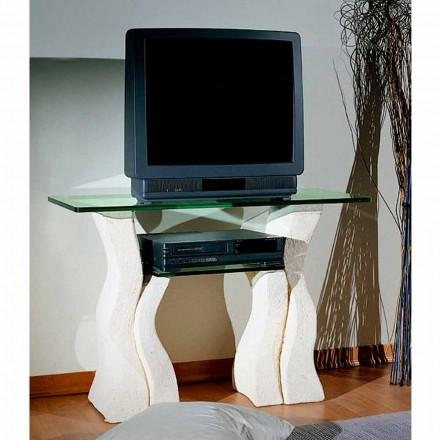 TV-standaard in Vicenza Stone en handgesneden Khloekristal