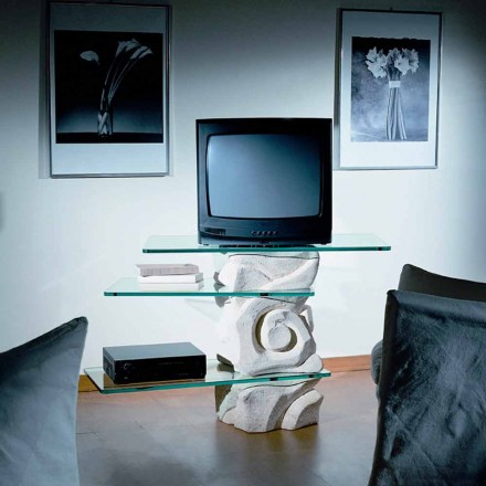 TV-standaard in Vicenza Stone en met de hand gesneden Agape-kristal