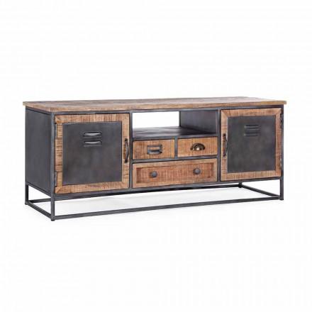 Tv-meubel in industriële stijl van mangohout en staal Homemotion - Rupia