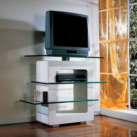 Modulaire tv-standaard met de hand gesneden Vicenza Stone en Agnes-kristal