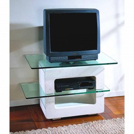Modulaire tv-standaard Pietra di Vicenza en kristal, met de hand gesneden, Eleni
