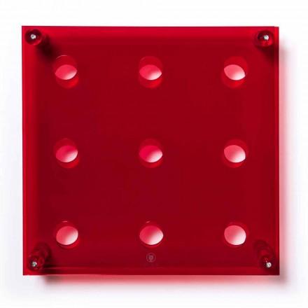 Muur van de Fles Amin Big L45xH45xP13,6cm transparant rood