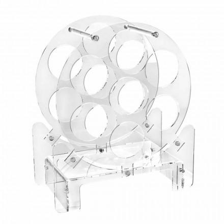 Design tafelfleshouder in transparant plexiglas of met hout - Vinello