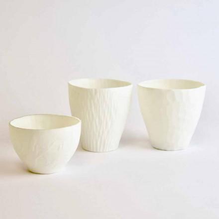Design kandelaar in gedecoreerd wit porselein 3 stuks - Arcireale