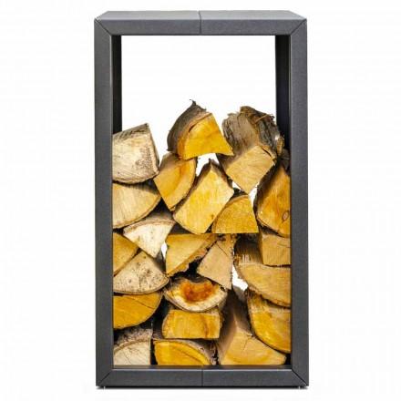 Buiten- of binnenhaard voor brandhout, zwart of corten 45x45xH70 cm - Riviera