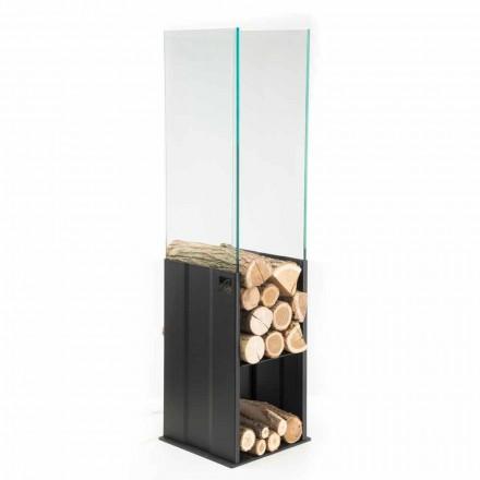 Interne houten houder Modern ontwerp in staal en glas Made in Italy - Mistral