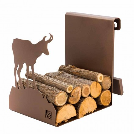 Indoor brandhout houder in bruin staal gemaakt in Italië met gereedschap - Volturno
