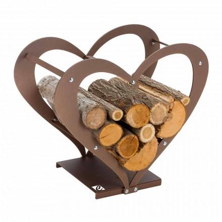 Design binnenstalen brandhouthouder Made in Italy - Cuore