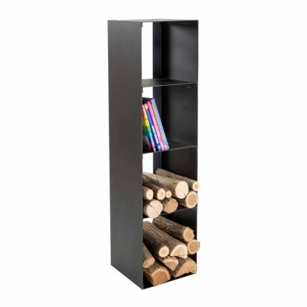 Zwarte moderne houten binnenhouder met planken gemaakt in Italië - Cauro1