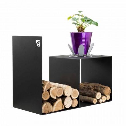 Modern design houten houder met binnentafel in zwart staal - Cecia