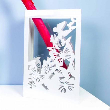 Witte houten paraplubak met modern design versierd met vlinders - Papilio