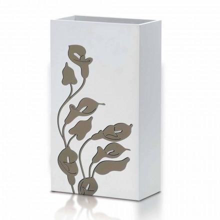 Wit Houten Paraplubak Modern Design met Bloemendecoraties - Caracalla