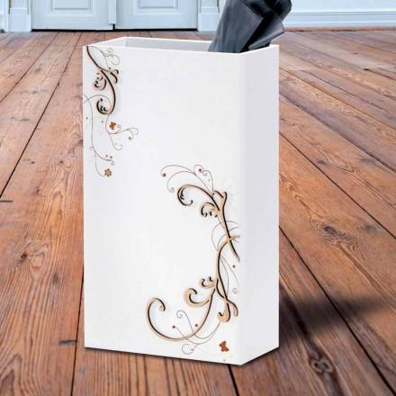 Moderne elegante paraplubak in donker of wit hout met decoraties - poëzie