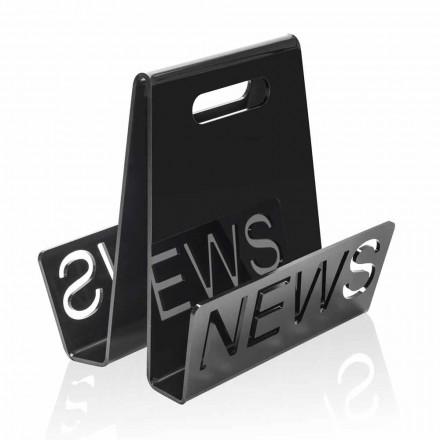 Tijdschriftenrek in zwart of transparant plexiglasontwerp Gemaakt in Italië - Omar