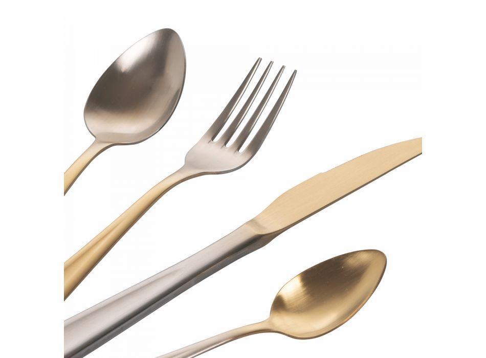 24-delig goud en zilver gradiënt mat roestvrij stalen bestek - Posh