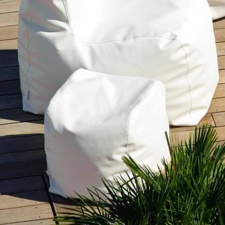 Poef Cloud Trona design in wit nautische imitatie leer gemaakt in Italië