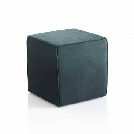 Moderne vierkante poef gestoffeerd en bedekt met groen fluweel - Fuffi