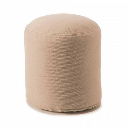Zachte ronde poef voor binnen of buiten woonkamer in gekleurde stof - Naemi