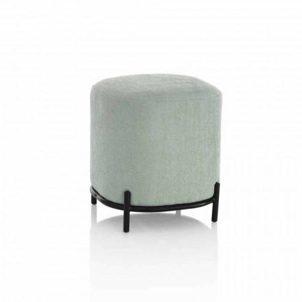 Ronde poef voor woonkamer in modern design van groene of grijze stof - Ambrogia