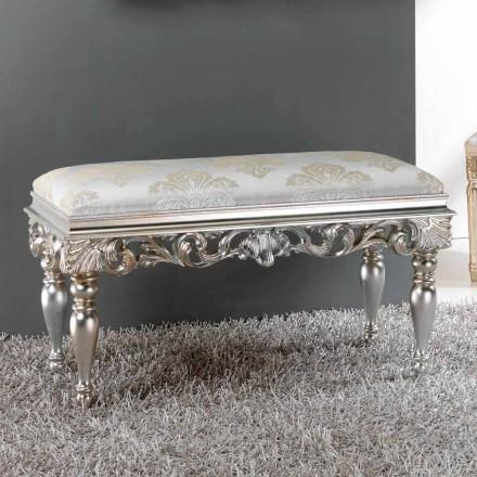 Poef bed klassiek design met zilveren afwerking Zorn