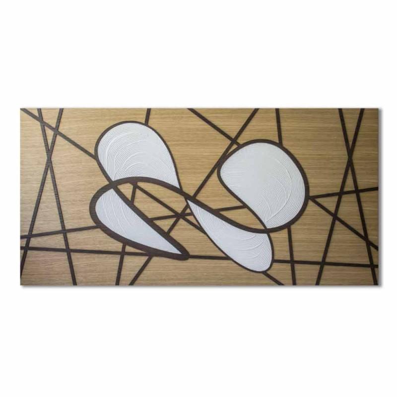 120x60 Kader in eiken en wit lichaam met de hand bewerkt en bas-reliëfs - Sambuca