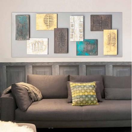Modern schilderij met duifgrijs canvas en acht elementen van Andrew