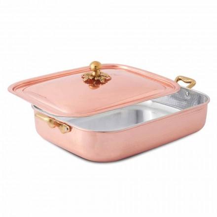 Handvertinde koperen rechthoekige braadpan en deksel 37x27 cm - Mariateresa