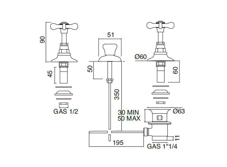 3-gats bidetkraan Interne levering in messing handgemaakt - Fioretta