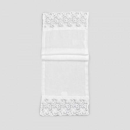 2 Tafelloper 100% linnen met luxe wit kant Gemaakt in Italië - Trionfo