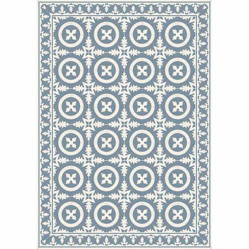 Beige of blauw patroon tafelloper in pvc en modern polyester - Bondo