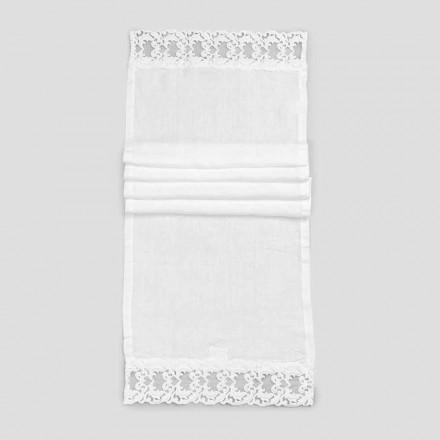 Linnen tafelloper met wit kant, Italiaanse luxe kwaliteit - Farnese