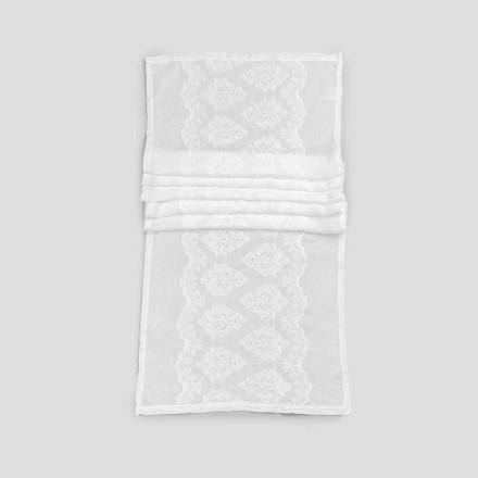 Tafelloper 100% linnen met borduurwerk van luxe design - Giuggiolo