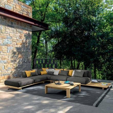 Tuinlounge met poef en salontafel in hoogwaardig hout - Argo van Talenti