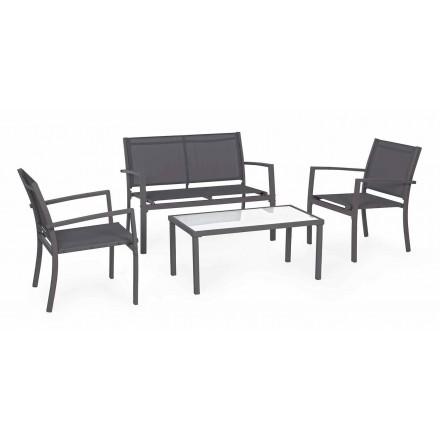 Tuinsalon in staal en textiel, bank, fauteuils en salontafel - Osseo