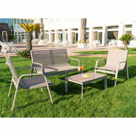 Tuinlounge van aluminium, canvas en kostbaar HPL Made in Italy - Atollo