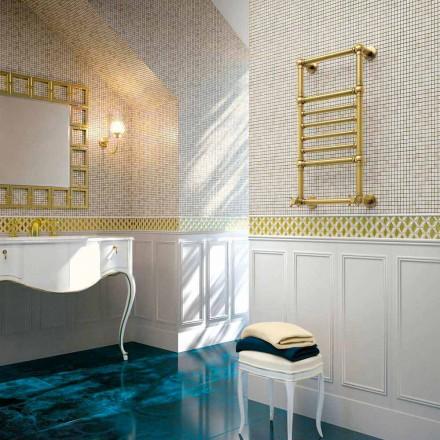 Scirocco H Amira hydraulische handdoekverwarming in goud messing vervaardigd in Italië