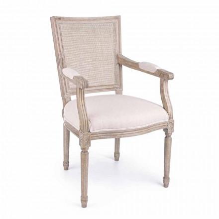 Klassieke stoel met armleuningen van essenhout en stof Homemotion - Meringue