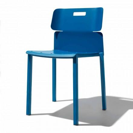 Gekleurde stapelbare stoel voor buiten in aluminium Made in Italy - Dobla